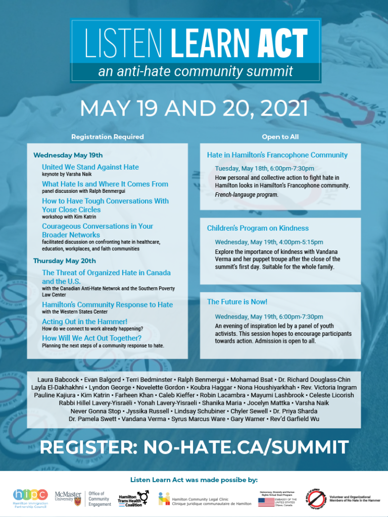 Listen Learn Act Summit poster with program details